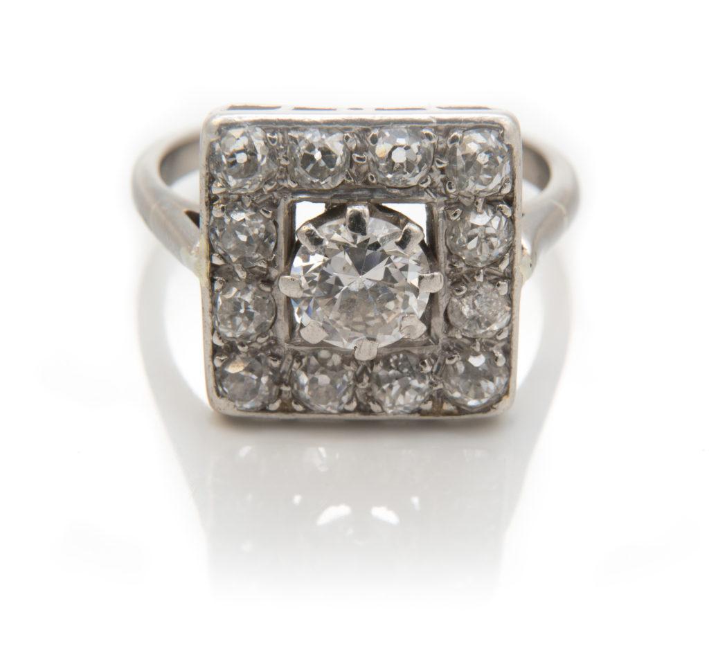 Art Deco diamond cluster dress ring