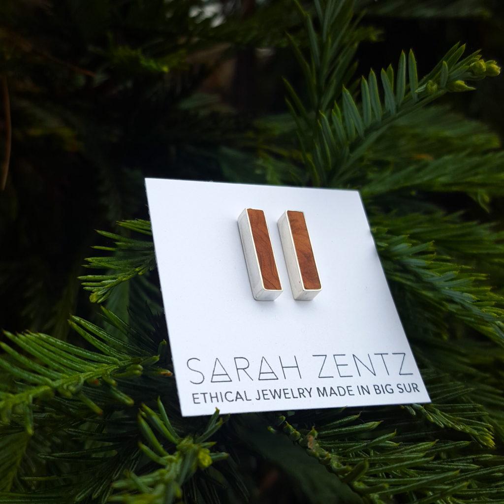 Ethical Jewelry Redwood Stud Earrings
